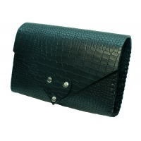 Black Croco Printed Natural Leather Handmade Bag Camenittta