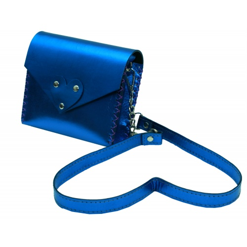 Electric Blue Natural Leather Handmade Little Bag Carmenittta
