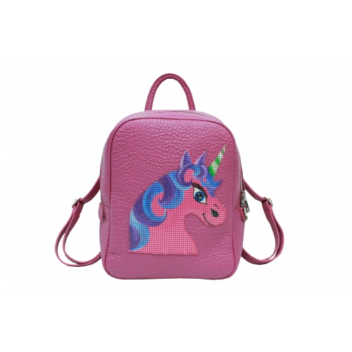 Handpainted Unicorn On Purple Leather Backpack Carmenittta