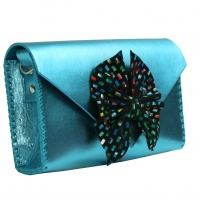 Butterfly Bow Metallic Blue Leather Handmade Bag