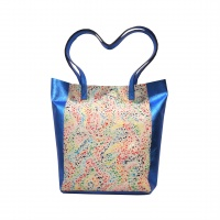 Electric Blue and White Painted Print Natural Leather Shopper Bag