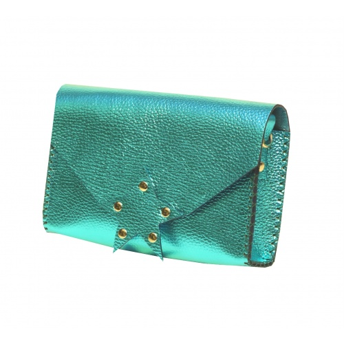 Metallic Green Leather Handmade Star Bag Carmenittta