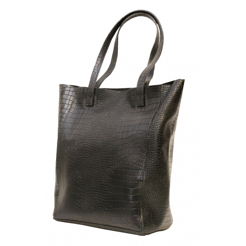 Croco Printed Natural Leather Shopper Bag