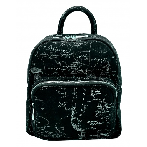 Arround The World Printed Suede Leather Backpack