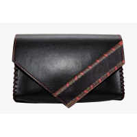 Traditional Print Detail Black Leather Handmade Bag