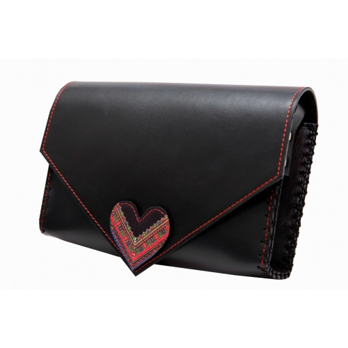 Traditional Print Heart Black Leather Handmade Bag
