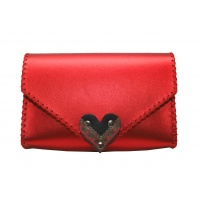 Traditional Print Heart Metallic Red Leather Handmade Bag