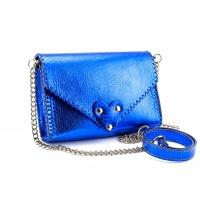 Electric Blue Snakeprint Handmade Leather Bag