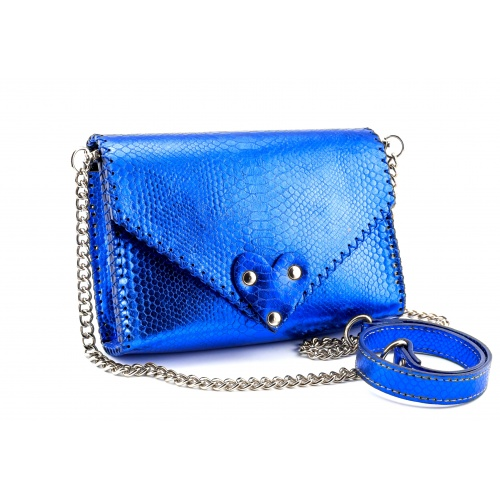 Electric Blue Snakeprint Handmade Leather Bag