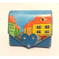 Sibiu Streetview Handpainted Blue Leather Bag by Carmenittta