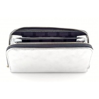 Silver Gray Leather Wallet