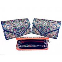 Traditional Print Leather Wallet