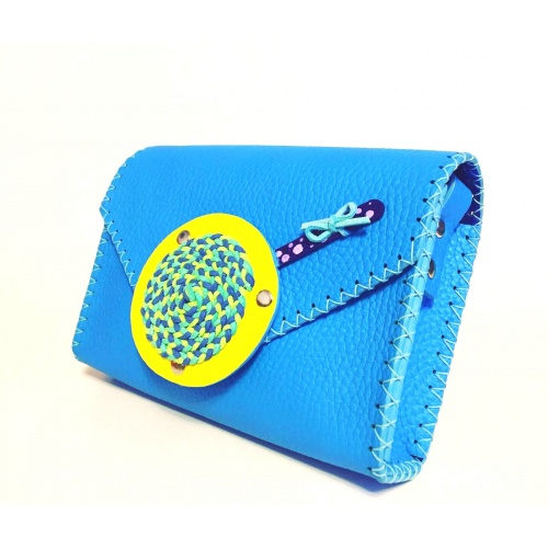 Handmade Blue Leather Lollypopbag Carmenittta