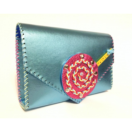 Handmade Metallic Light Blue Leather Lollypopbag Carmenittta