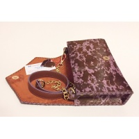 Purple Brown Cavallino Leather Handmade Bag