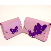 Violet Camoscio Butterflies on Pink Snakeprint Calf Leather Mother and Daughter Bags by Carmenittta