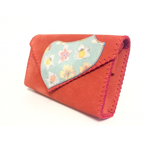 Flowers Printed Leather on Coral Suede Leather Bag by Carmenittta