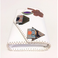 Little Colorful Leather Houses on White Leather Bag by Carmenittta