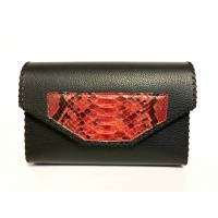 Phyton Snake Leather Detail on Black Leather Bag
