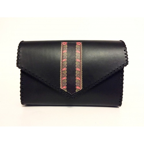 Traditional Print Leather Detail on Black Leather Bag Carmenittta