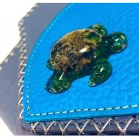 Handmade Epoxy Resin Turtle on Gray Leather Unique Bag by Carmenittta