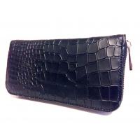 Black Croco Pattern Print Leather Wallet