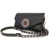 Black Leather Handmade Bag with a Leather Flower