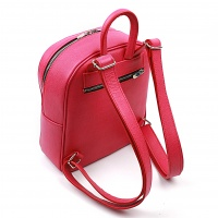 Handmade Pompoms Icecream on Saffiano Pink Leather Backpack