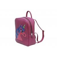 Handpainted Unicorn On Purple Leather Backpack Carmenittta