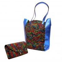 Electric Blue and Black Painted Print Natural Leather Shopper Bag