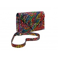 Handmade Black Suede Leather Bag With Special Painted Print