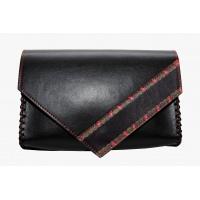 Traditional Print Detail Black Leather Handmade Bag