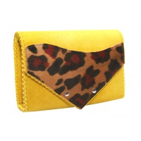 Yellow Suede Natural Leather with Pony detail Handmade Bag Camenittta