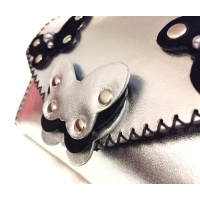 Sliver and Black Leather Butterflies on Silver Calf Leather Handmade Bag by Carmenittta