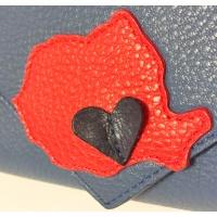 Romania Map on Navy Blue Leather Bag by Carmenittta