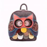Purple Suede Leather Handmade Owl Backpack by Carmenittta