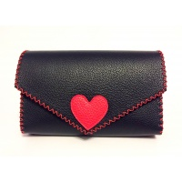 Black Leather Handmade Bag with a Red Leather Heart