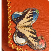 Orange Saffiano Leather with a Colorful Butterfly Handmade Bag