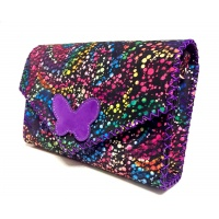 Black Suede Leather with Colorful Painted Print and a Purple Camoscio Leather Butterfly Handmade Bag