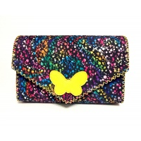 Black Suede Leather with Colorful Painted Print and a Yellow Leather Butterfly Handmade Bag