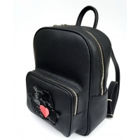 Black Natural Leather Backpack with Romania Map on the pocket