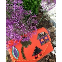 Little Colorful Leather Houses On Orange Saffiano Handmade Leather Bag 2 By Carmenittta