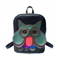 Handmade Green Owl on Black Leather Backpack by Carmenittta